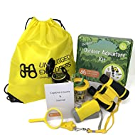 Unplugged Explorers 9 Piece Outdoor Toys Kids Adventure Kit - Purple or Yellow Backpack, Binoculars, Flashlight, Compass, Bug Collector, Whistle, Magnifying Glass - Kids Outdoor Boy Girl STEM Gift