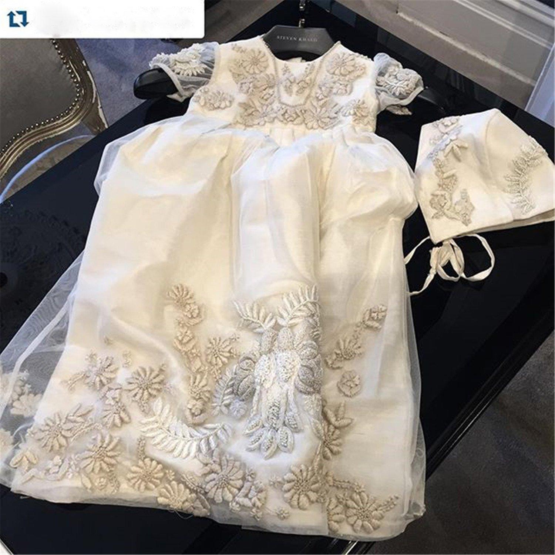 Newdeve Babies Dark Ivory Christening Gowns with Headpiece Preemie, Dark Ivory