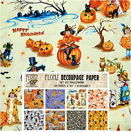 Craft and Scrapbooking Decoupage Paper Pack 24 Sheets 6x6 Vintage Halloween Patterns FLONZ Vintage Styled Paper for Decoupage