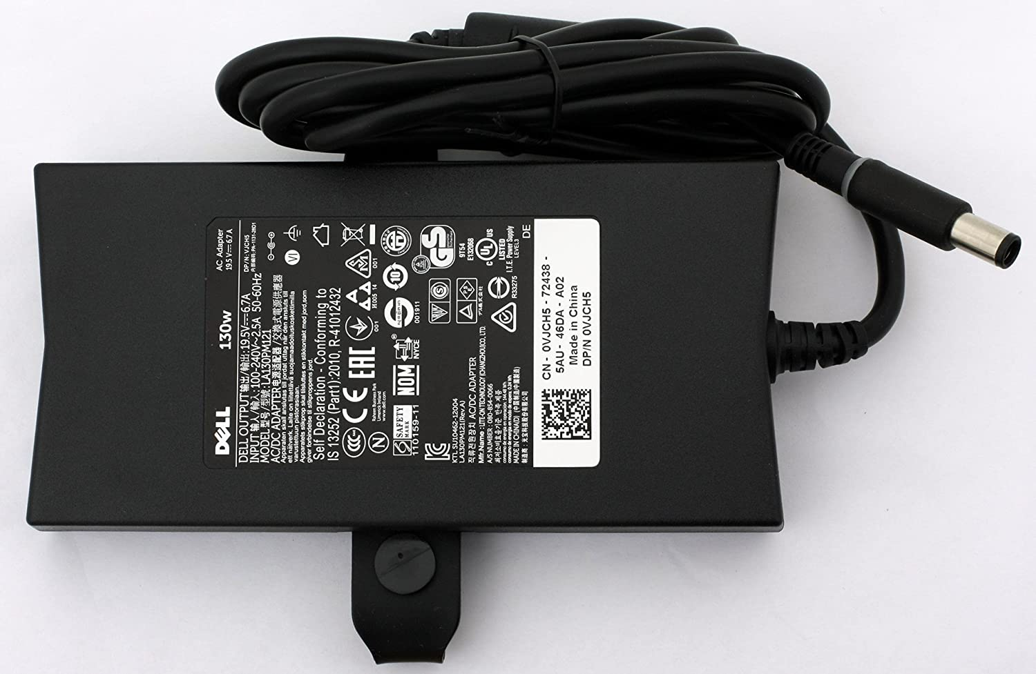 Amazon.com: Dell 130-Watt 3-Prong AC Adapter with 6 ft Power Cord ...