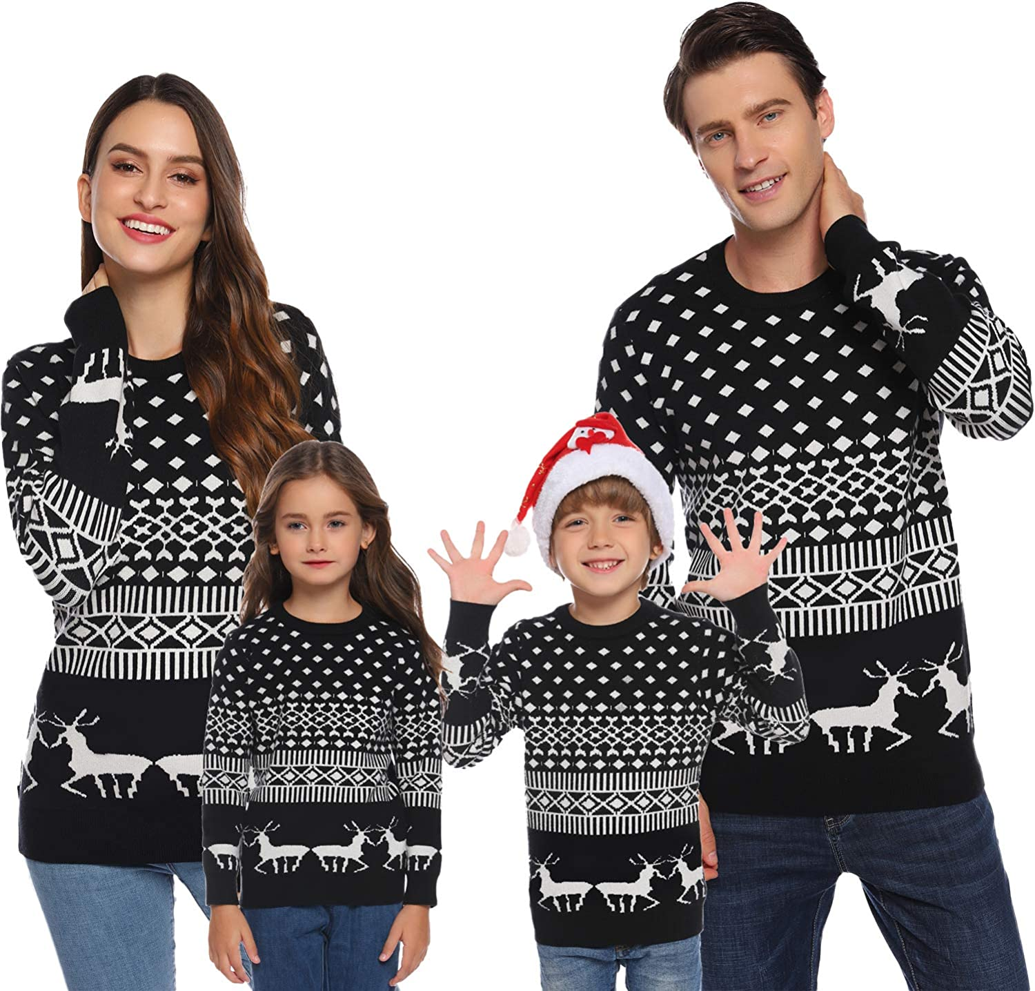 Amazon Com Aiboria Matching Family Ugly Christmas Reindeer Snowflakes Sweater Pullover For Women Men Boys Girls Clothing