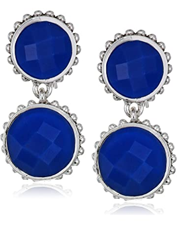 4071fa5ef772f4 Napier Women's Silver Blue Ez Comfort Clip Circle Double Drop Earrings