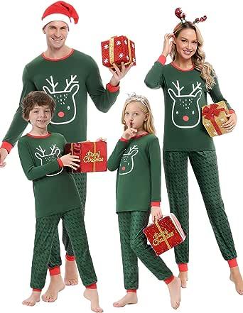 Aibrou Pijamas de Navidad para Familia,Top de Alce Manga Larga y Pantalones de Reno,Conjunto Pijama de Pareja,Pijamas de Padres e Hijos,Pijama Algodon para Mujer/Niños/Hombres