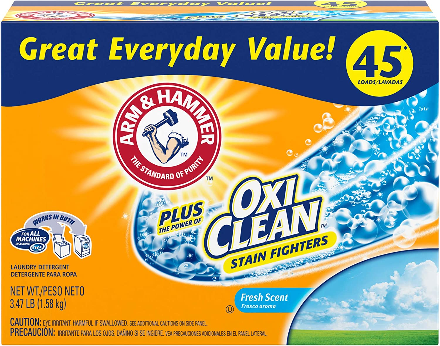 Arm & Hammer Plus OxiClean Powder Laundry Detergent, Fresh Scent, 45 Loads