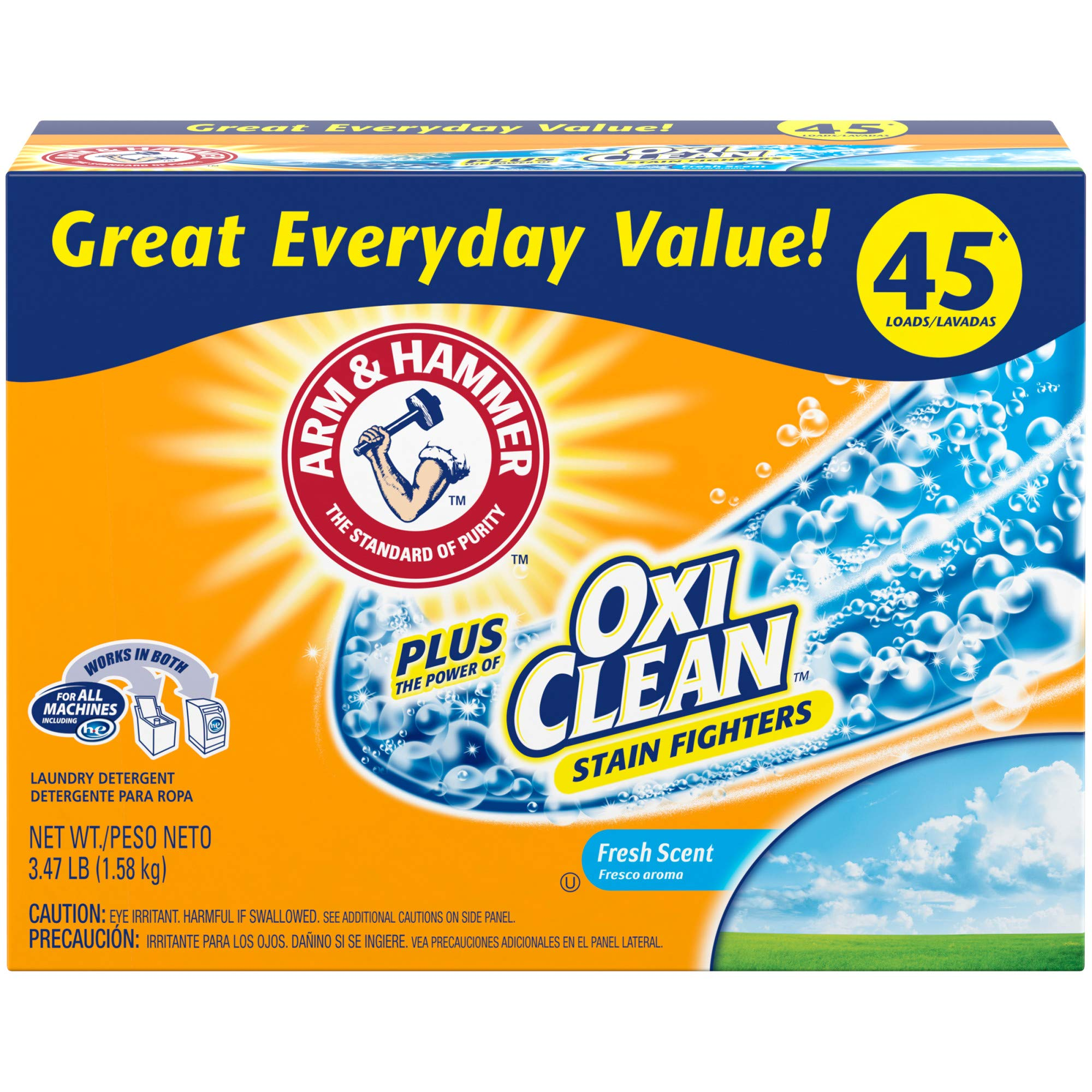 Arm & Hammer Laundry Detergent Plus OxiClean, Fresh Scent, 3.47 Lbs by Arm & Hammer