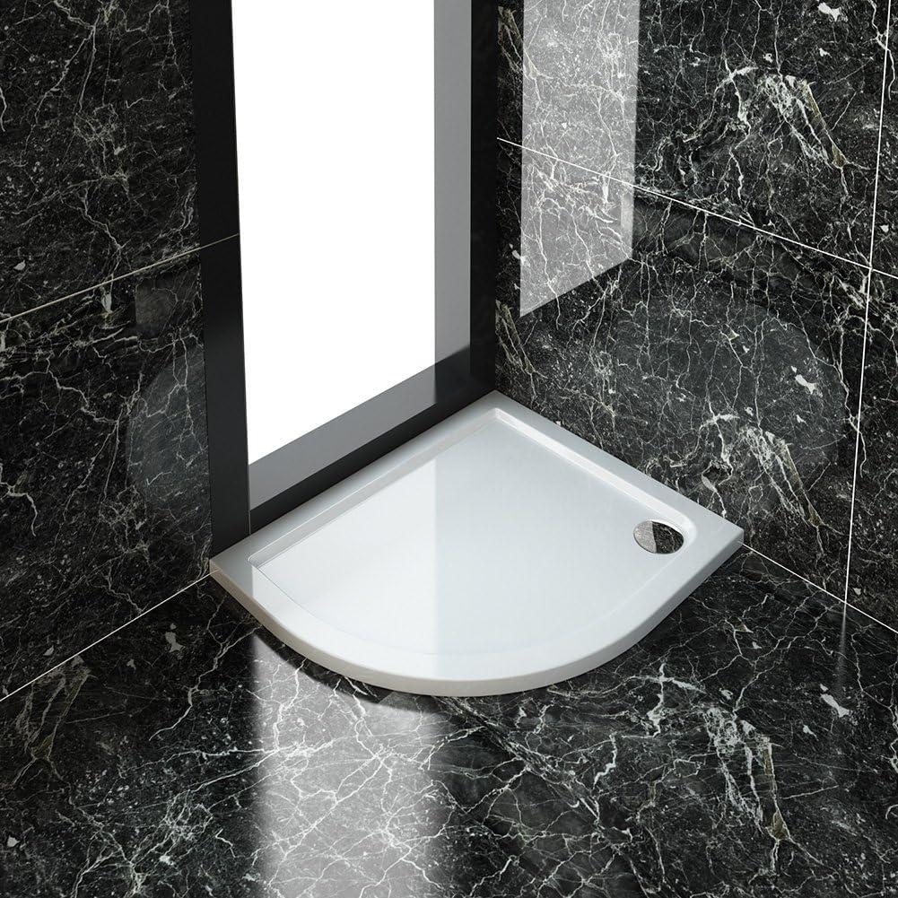 ELEGANT 900 x 760mm Right Offset Quadrant Shower Enclosure 8mm Easy Clean Glass Sliding Shower Door w//Tray+Waste+Riser