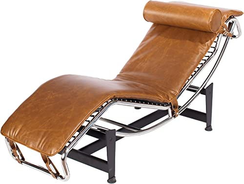 Product Name Mid Century Modern Classic Le Corbusier LC-4 Style Replica Premium Vintage Caramel Brown PU Leather and Stainless Steel Frame Chaise Lounge Chair LC4