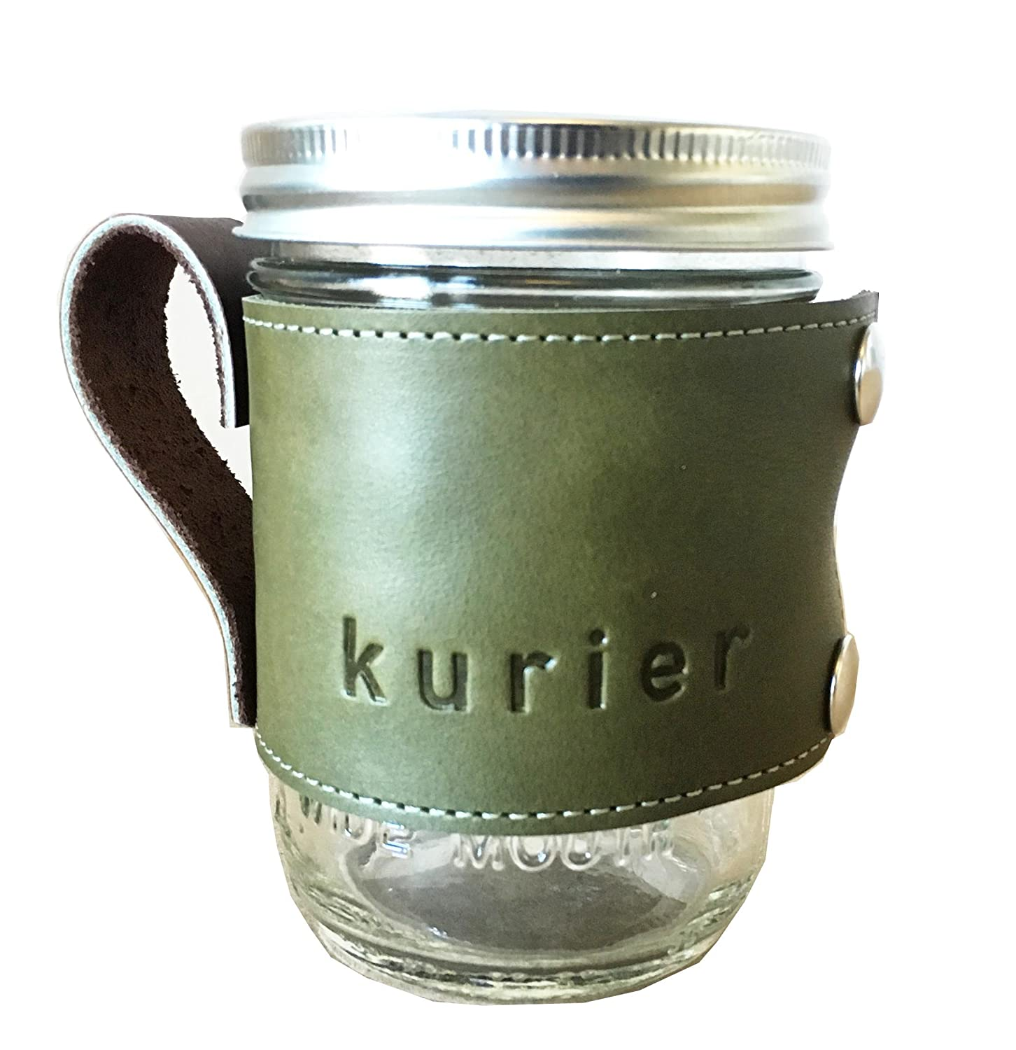 Kurier OLIVE GREEN removable full grain Leather Camp Mug/glass mason ball canning jar travel coffee cup sleeve with handle handmade in USA 16 oz. glass jar included