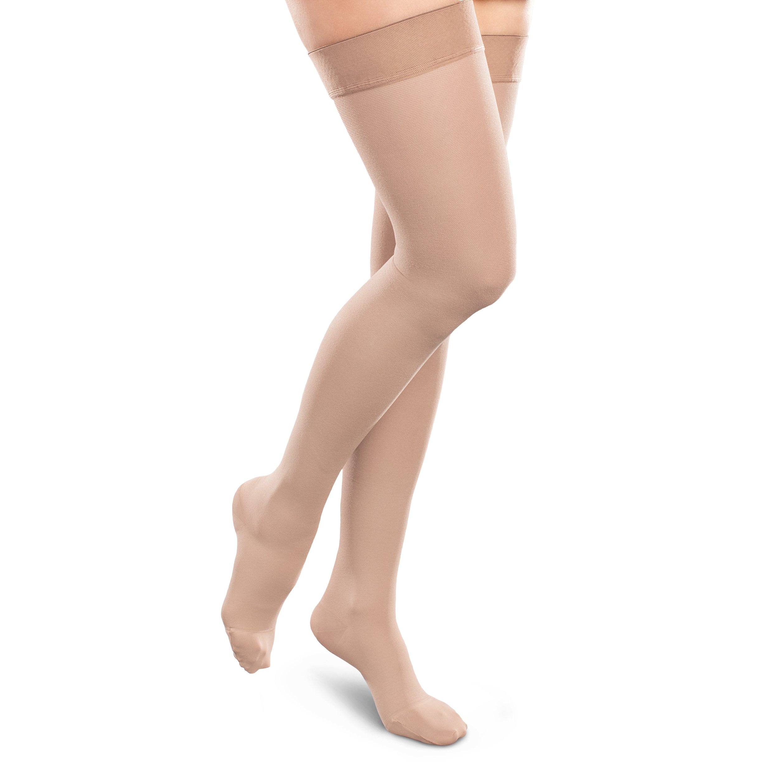 Therafirm Opaque Women's Support Thigh High Stockings - 15-20mmHg Mild Compression Nylons (Natural, Medium Long)