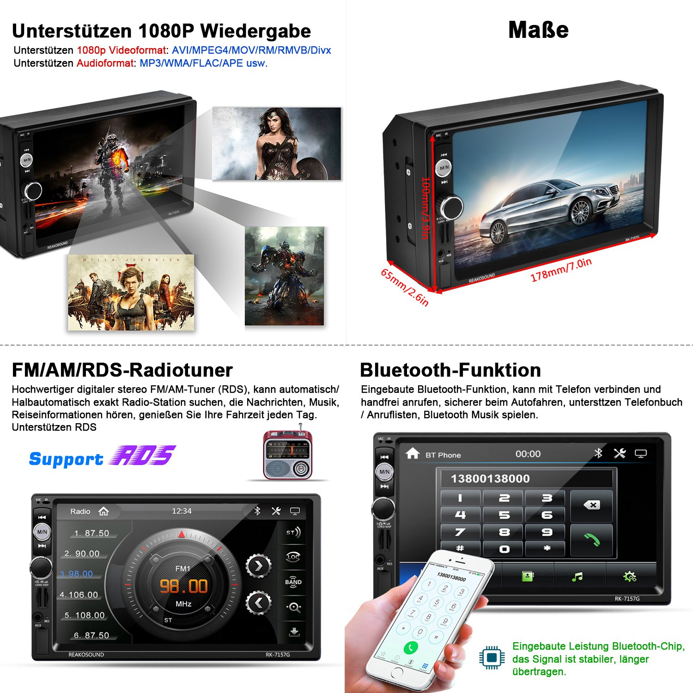 OUTAD Autoradio Bluetooth GPS Mirrorlink//Lenkradfernbedienung//Navigation//Freisprechfunktion//R/ückfahrkamera//RDS//USB//TF//AUX IN//Ausgabe 1080P Touchscreen 7 Wince 2 DIN MP5 Player 8GB TF Karte