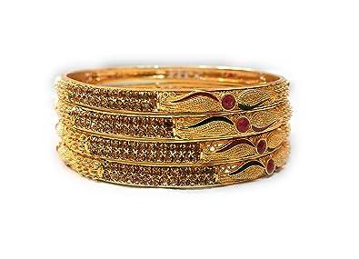 440bcbc8ef9 Priya Kangan Traditional Fancy Designer Casual Party Wedding Wear Original  Hand Work One Gram Golden Bangles