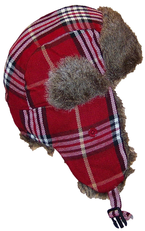 f9af7d1185e Best Winter Hats Adult Plaid Russian Trooper W Soft Faux Fur Cap (One  larger image