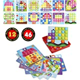 SANMIO Button Art Color Matching Mosaic Pegboard Early Learning Educational Toys for Boys and Girls