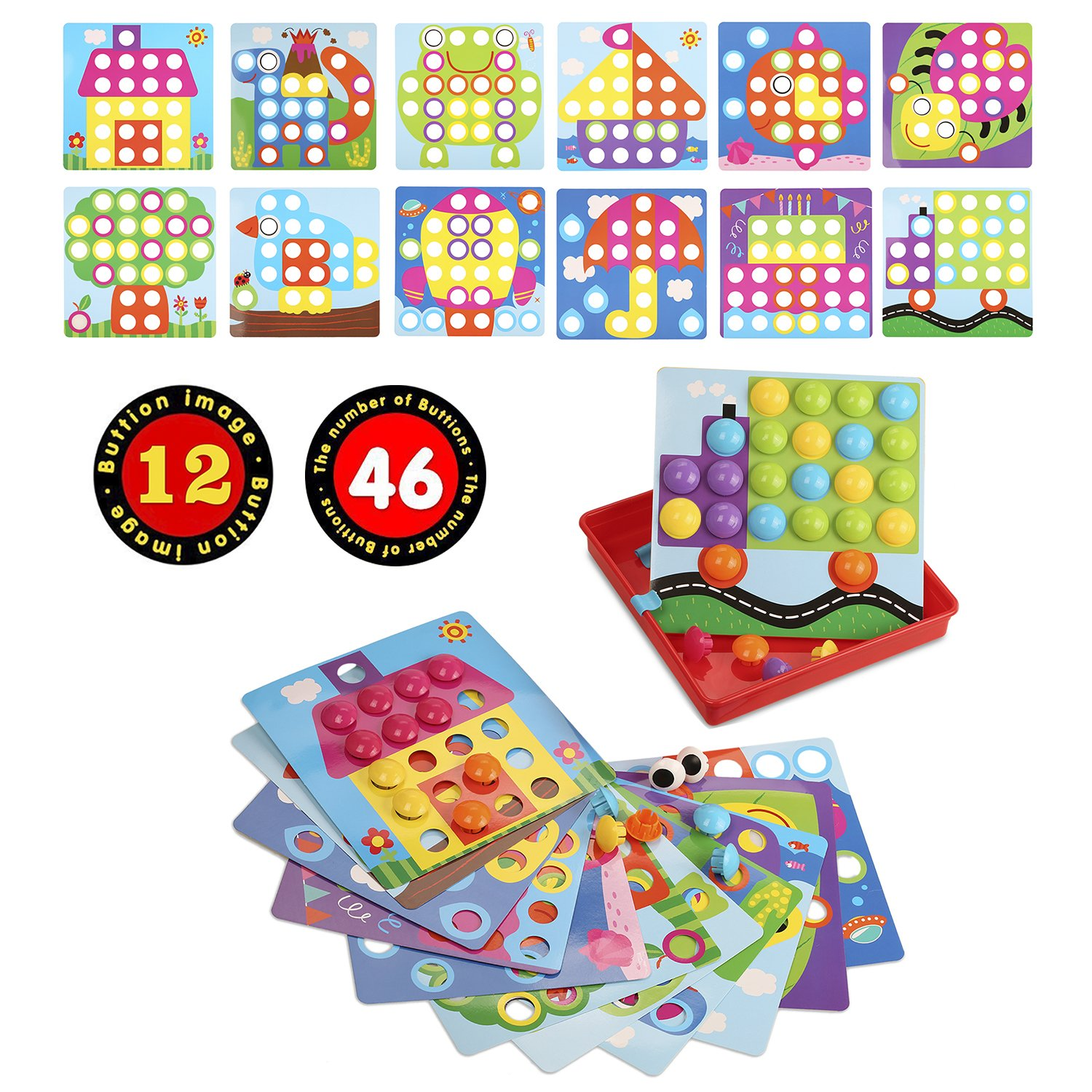 SANMIO Kids Toys Button Art Color Matching Mosaic Pegboard Early Learning Educational Toys for Boys and Girls
