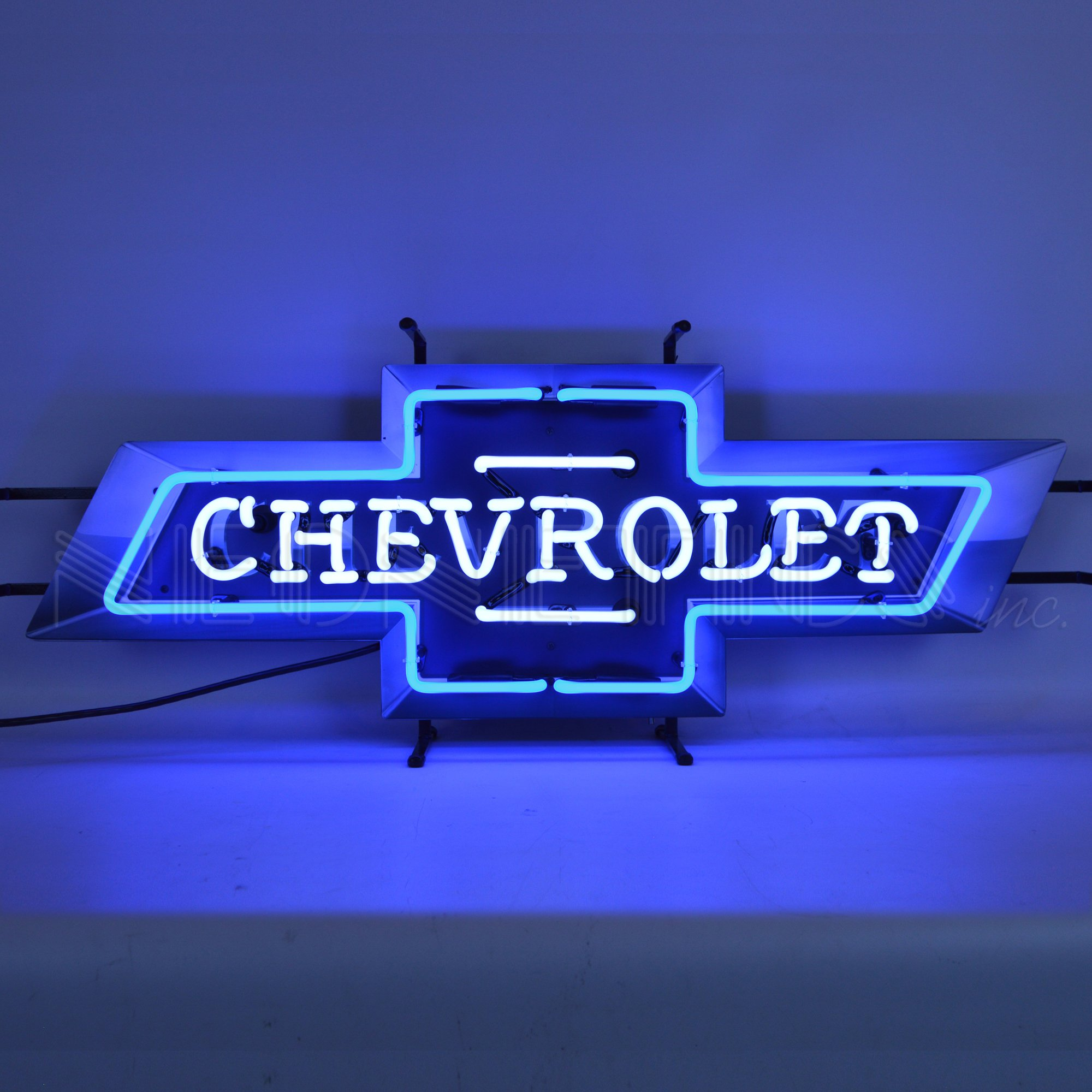 Chevrolet Chevy Bowtie Neon Sign With Backing by Neonetics, Blue and White Hand Blown Real Neon tubes, Measures 37 Inches Wide By 14 Inches Tall By 4 Inches Deep – 5CHEVB