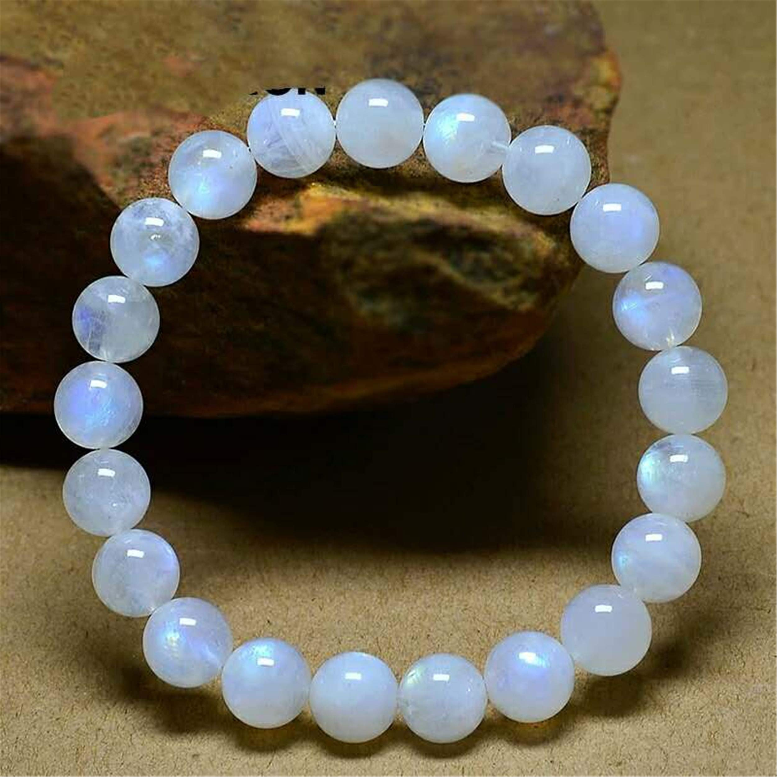 9mm Natural Moonstone Gemstone Stretch Healing Crystal Round Bead Bracelet by YF-Crystalbeads