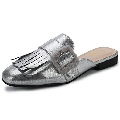 347e0a905af Alexis Leroy Women s Backless Slide Slip On Loafers Tassels Mule Slippers  Silver 37 M EU