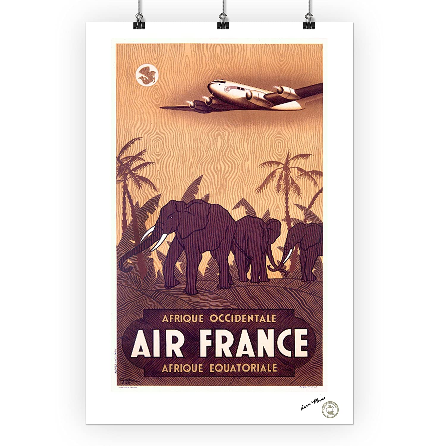 Amazoncom Air France Afrique Elephants Vintage Poster