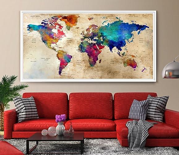 Amazon large wall art world map colorful wall art watercolor large wall art world map colorful wall art watercolor push pin world map print gumiabroncs Choice Image