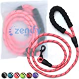 Zenify Pets Dog Lead - Durable Strong Chew Resistant Slip Lead Nylon Rope Padded Handle Mountain Climbing Harness Pet Puppy Training Slipknot Leash for Walking [1.2cm Thick 183cm Long] (Pink 6ft)