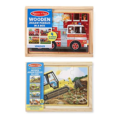 Melissa & Doug Vehicle and Construction Puzzles in a Box Bundle: Melissa & Doug: Toys & Games