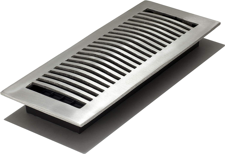 Decor Grates LA412-NKL 4-Inch by 12-Inch Aluminum Floor Register, Nickel
