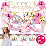 Value Smash Unicorn Party Supplies 24 guests for girls with Birthday Banner, Unicorn Cake Topper, Headband & Sash, Dinning &