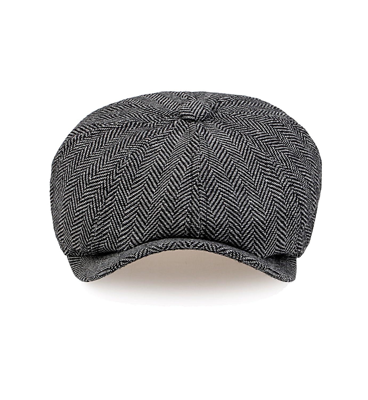 b270aacaed3d8 Sumolux Mens Tweed Cap 8 Panel Herringbone Irish Caps newsboy IVY Linen  Snap Brim Hat at Amazon Men's Clothing store:
