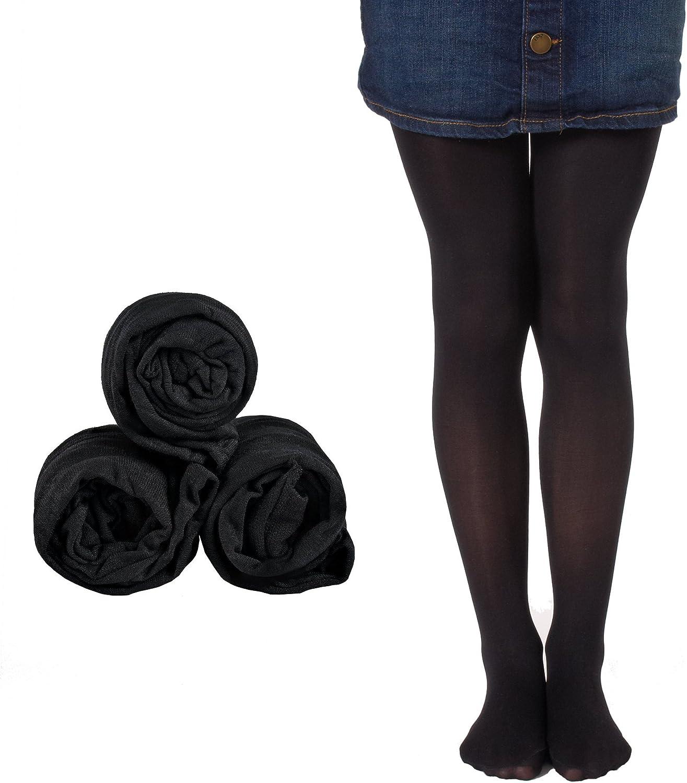 Mallary Girls Microfiber Tights 3-Pack Black 10 to 14