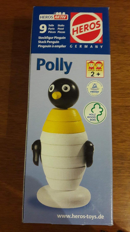 Holzspielzeug Motorikspielzeug 73702 Heros Steckfigur Pinguin Polly 9-teilig aus Holz Nr