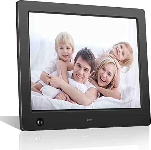 FLYAMAPIRIT Digital Picture Frame 8 inch Electronic Photo Frame with Motion Sensor and High Resolution 1024×768 IPS LCD 1080P 720P Video Player Stereo MP3 Calendar Time Remote