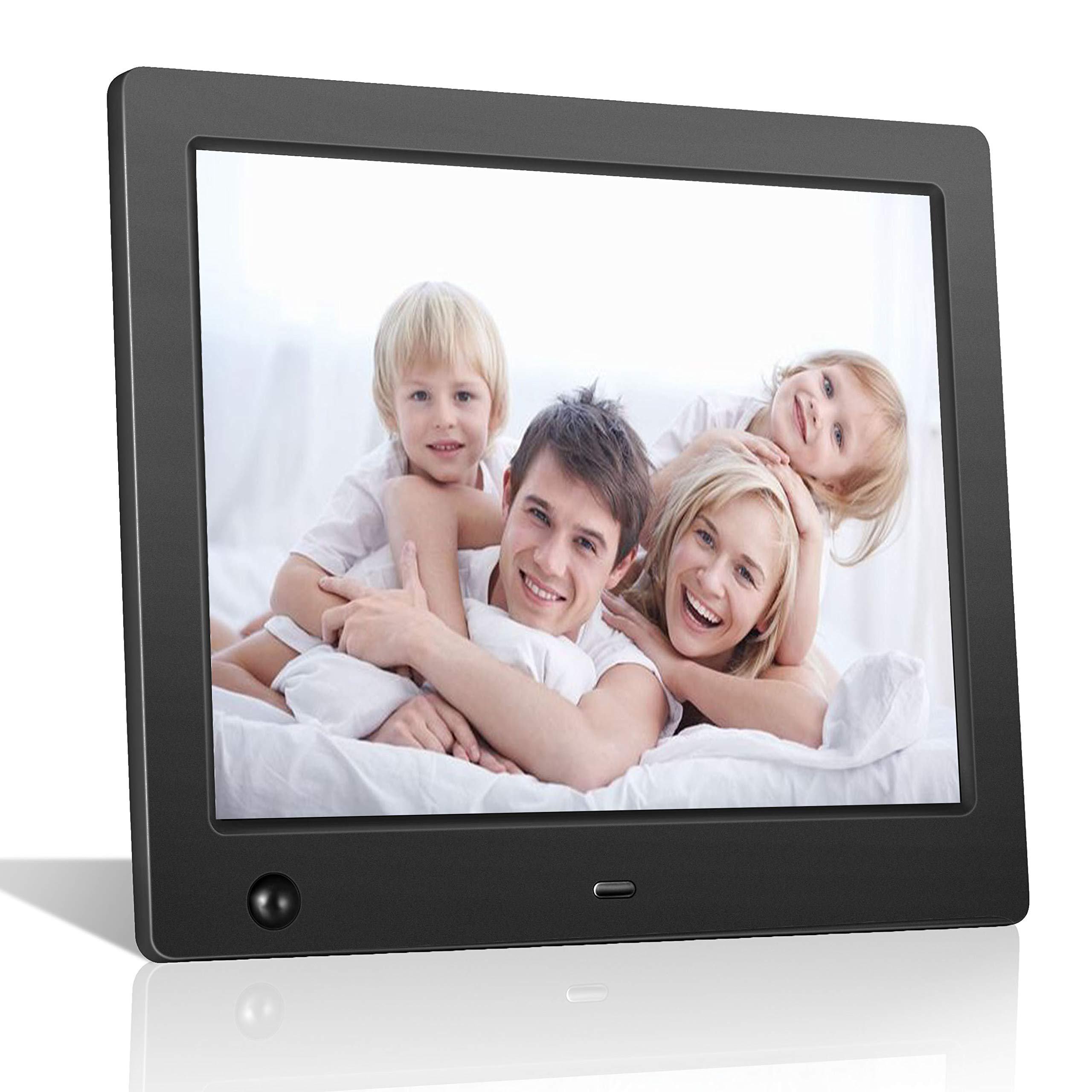 Digital Picture Frame 8 inch Electronic Photo Frame with Motion Sensor and High Resolution 1024x768 IPS LCD/1080P 720P Video Player/Stereo/MP3/Calendar/Time/Remote Control by FLYAMAPIRIT