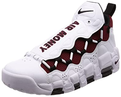 NIKE Mens Air More Money WhiteBlack-Team Red Leather Size 10