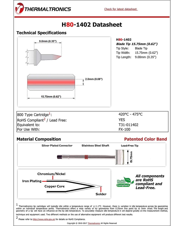 0.62 Thermaltronics H80-1402 Blade Tip 15.75mm interchangeable for Hakko T31-011402