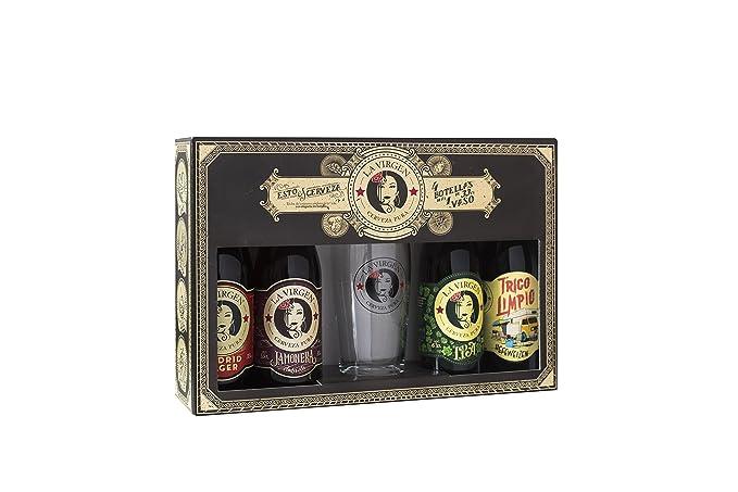 La Virgen Cerveza Artesana, 4 Cervezas de 300 ml y un Vaso, Paquete de