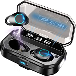 Wireless Earbuds Bluetooth Headphones 5.0 with LED Torch, IPX7 Waterproof Sport Headphones with Mic/120 Hrs/HD HiFi Stereo/Immersive Deep Bass/Touch Control/Noise Cancellation for iPhone/Android