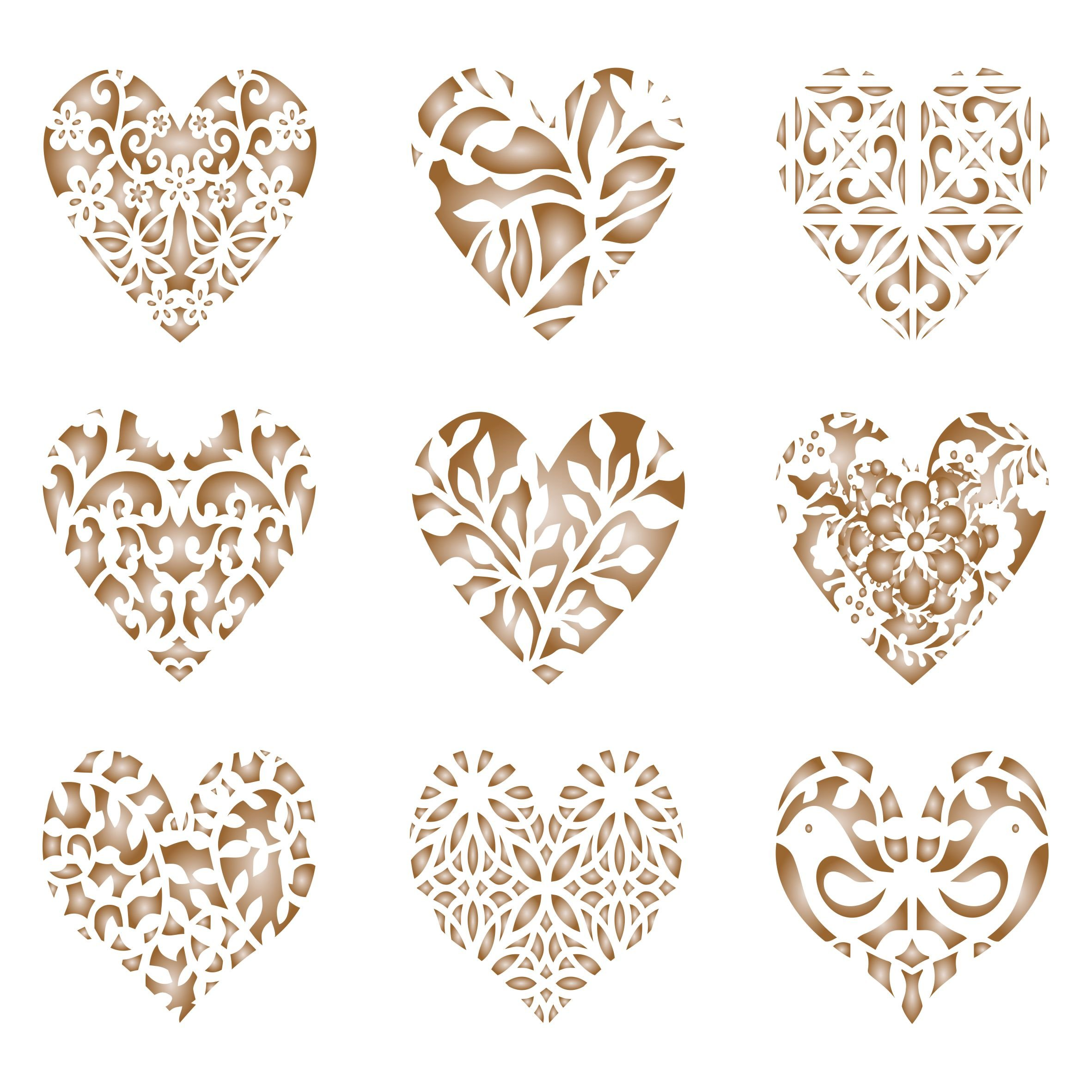 Heart Coffee Set Stencil - 9 Designs - Reusable Barista Stencils for Decorating Cappuccino Coffee Latte Cupcakes Cakes Cookies Scrapbooking Stenciling and more...