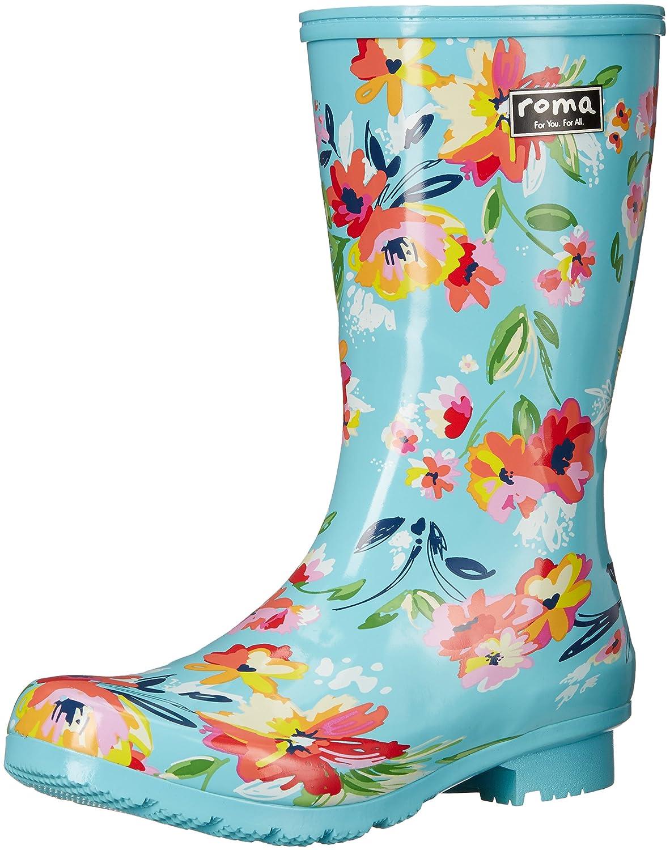Roma Boots Women's EMMA Mid Rain Boots B01L2WNN6W 8 B(M) US|Turquoise Floral