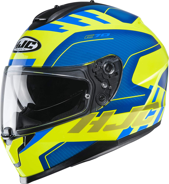 Hjc Helmets Herren Nc Motorrad Helm Blau Gelb L Auto