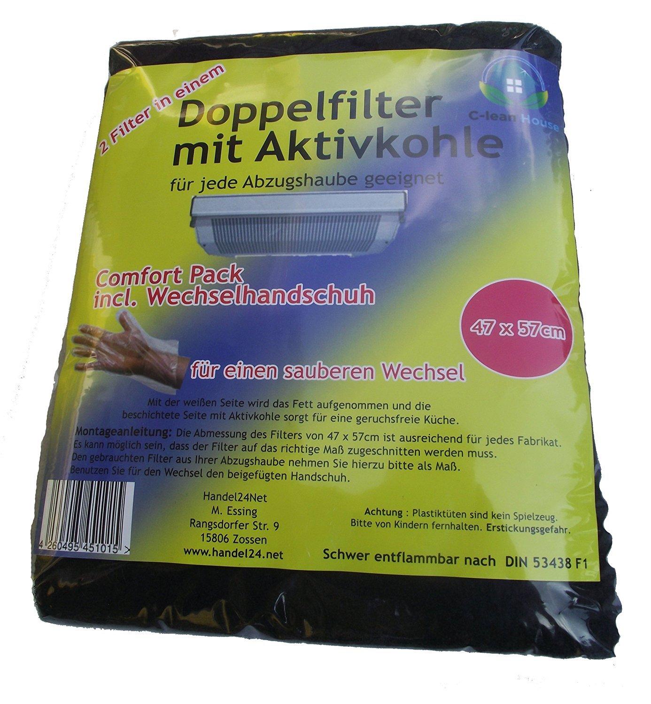 C de Lean House doble filtro con carbón activo Comfort–Paquete incl. Cambio Guantes personalizable zuschnitt, 47x 57cm C-lean House