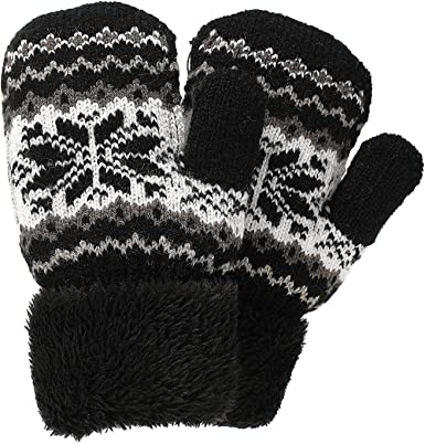 BlackSunnyDay Kids Lovely Printed Warm Cold Weather Knitted Mittens