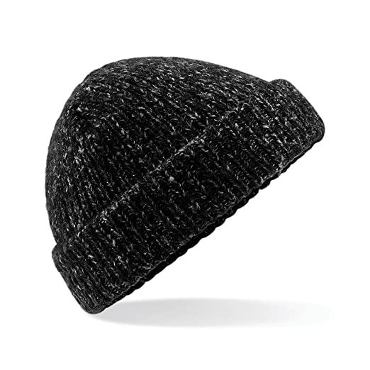 e0df9f48b77 Beechfield Unisex Adults Glencoe Knitted Winter Beanie Hat (One Size)  (Black Fleck)
