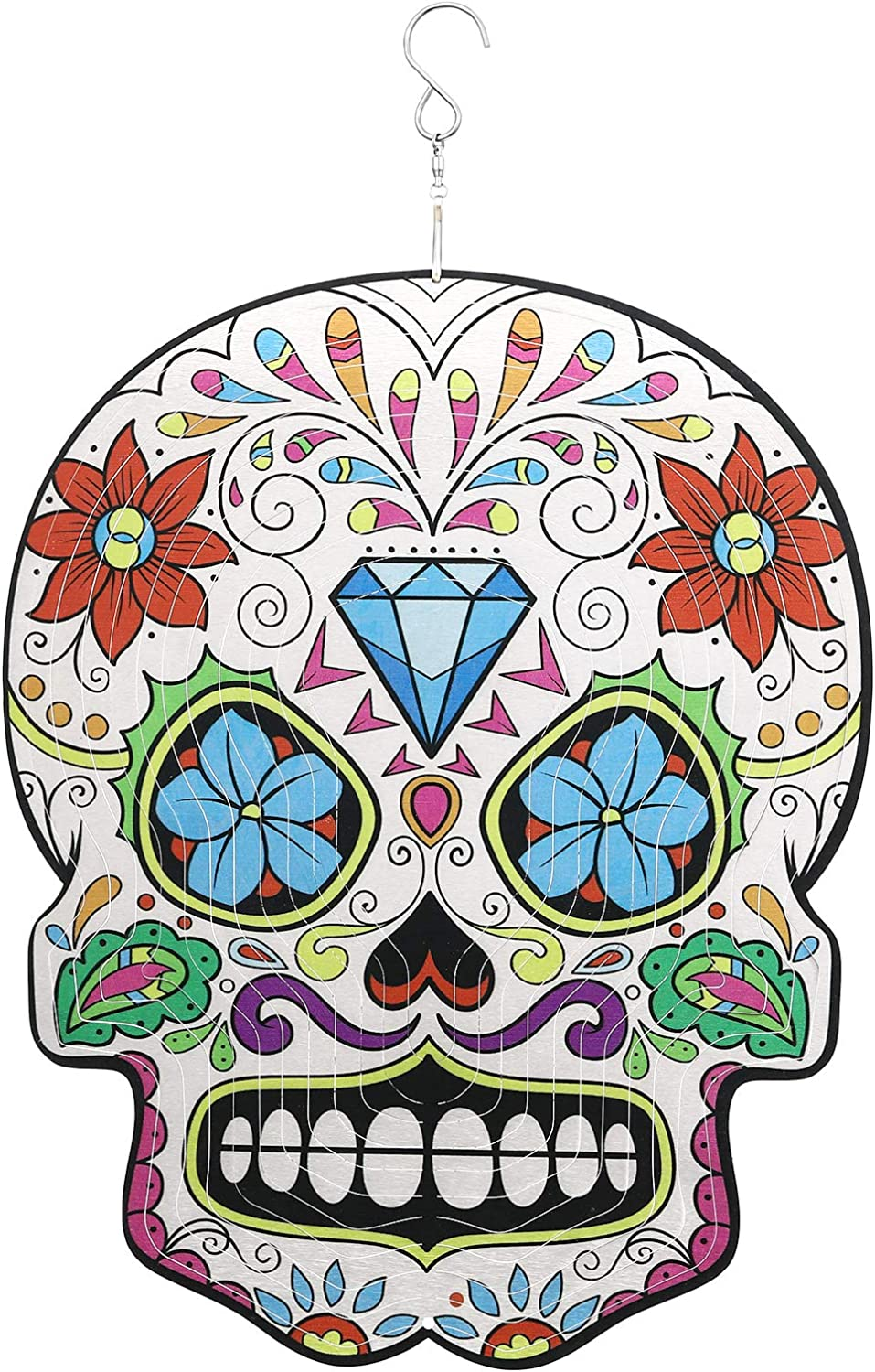 Wind spinner,Sugar Skull Metal Wind Spinners Outdoor Hanging,3D Diamond Flower Craft Kinetic Spinner for Yard Ornament Art,12inch Decorative Wind Spinners Garden Clearance,Sugar Skull Spinner Gifts