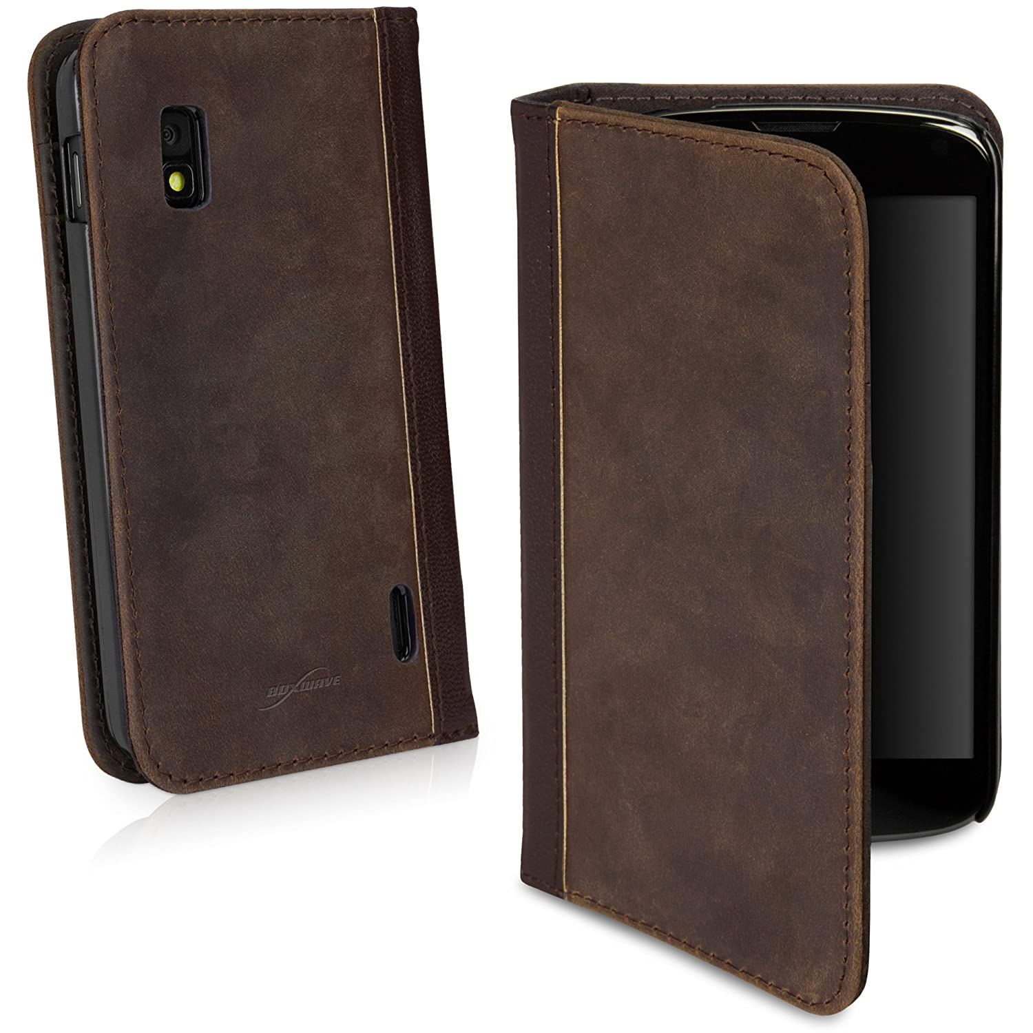 size 40 c2801 4a81f BoxWave Classic Book LG Nexus 4 Case - Vintage Book Cover Case, Leatherette  Wallet Case Design with Card Slots and Premium Interior Design for LG ...