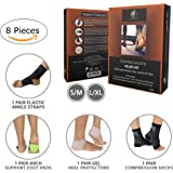 Plantar Fasciitis Relief Kit - Includes Silicone Heel Protectors-1 pair, Arch Support Pads-1 pair, Compression socks-1 pair, Ankle brace-1 pair(4 pairs/8 count) & Exercise E-Guide