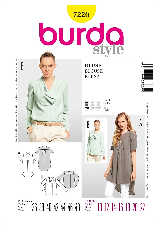 Burda 7220 patrón de costura Blusa, Blusa, patrones de talla 36 48 ...