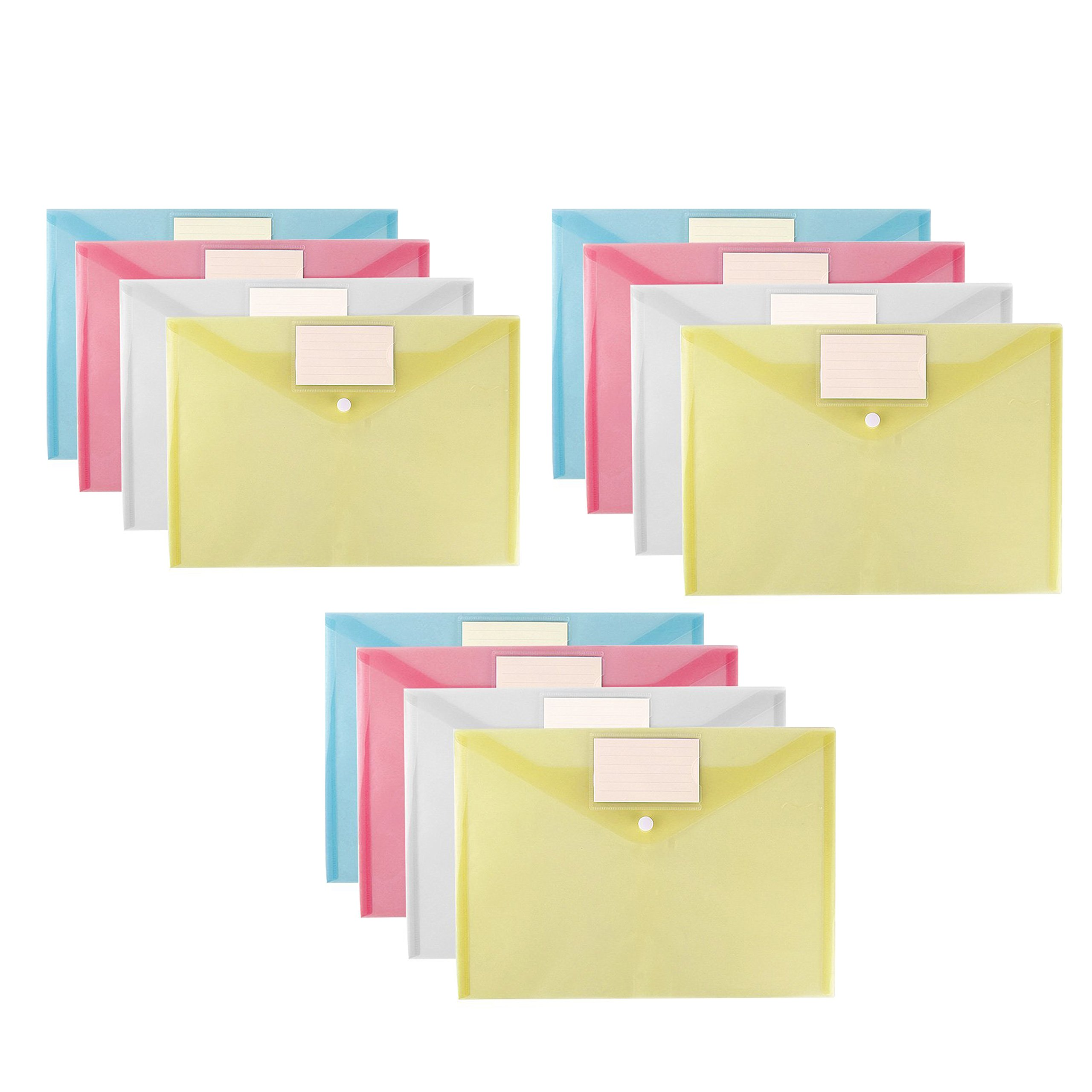 EzSos File Bag,A4 Document Envelope Folder, Clear Transparent Thick PP Storage Bags ,Snap Button Organizer With Label Pocket for Papers,Document, Business Cards, Office Stationery 12 Pcs/Pack