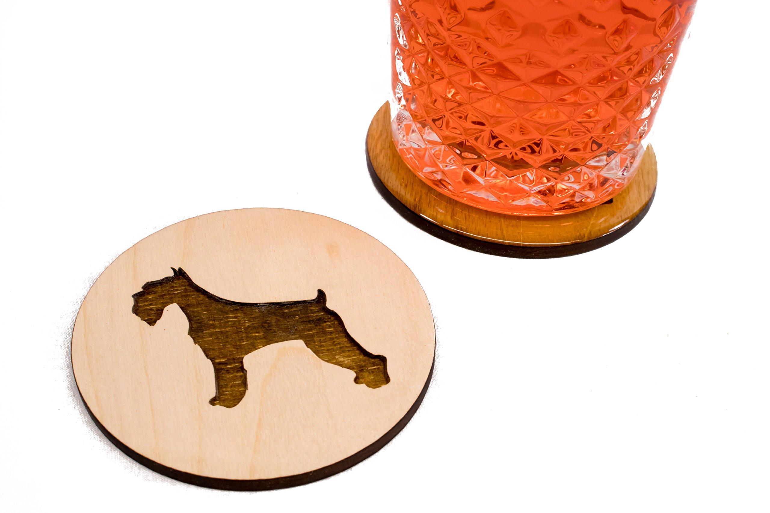 Unfinished Miniature Schnauzer Coasters - Set of 4 Handmade Engraved 3.5'' Round Wood Stocking gift