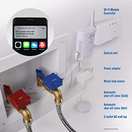New and Improved! Automatic Laundry Water Leak Detector & Shut-Off System  with Auto Shut Off & NEW Mobile Phone/Tablet App Alerts for Washing Machine