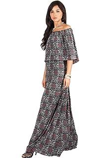 5dd79e1d8 KOH KOH Womens Long Sexy Bohemian Print Off Shoulder Strapless Summer Maxi  Dress